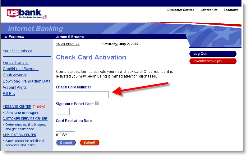 us bank credit card activation